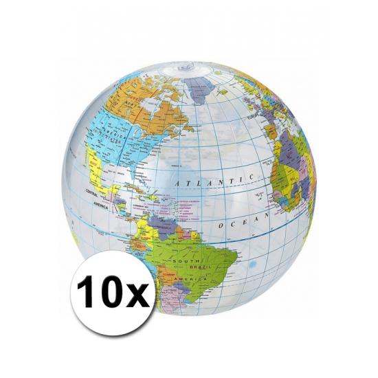 10 opblaasbare strandballen wereldbol