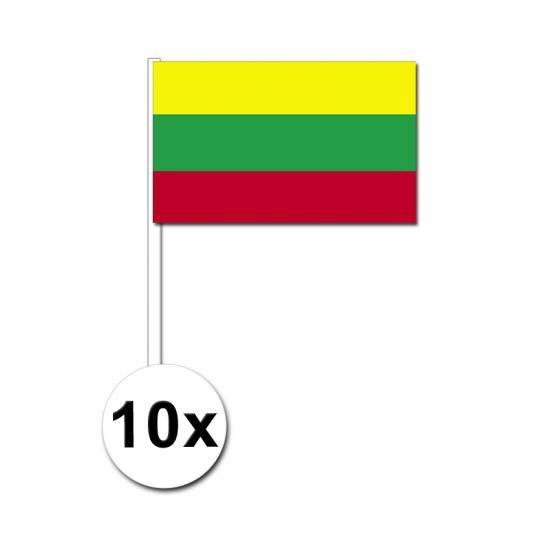 10 zwaaivlaggetjes Litouwen 12 x 24 cm