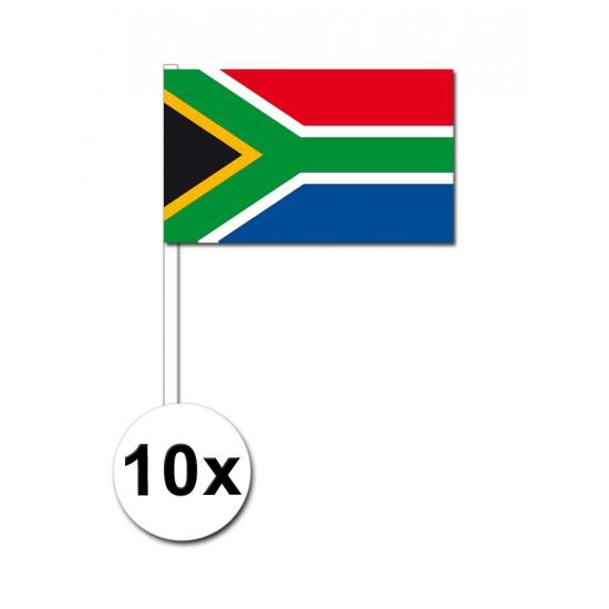 10 zwaaivlaggetjes Zuid Afrika 12 x 24 cm