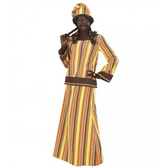 Afrikaanse dame kostuum. dit afrikaanse dames kostuum bestaat uit een top, een rok en een mutsje.