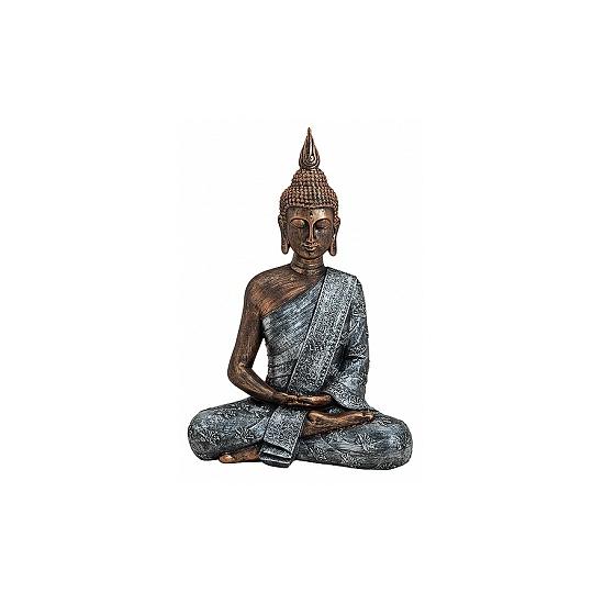 Boeddha beeld brons/zilver 40 cm