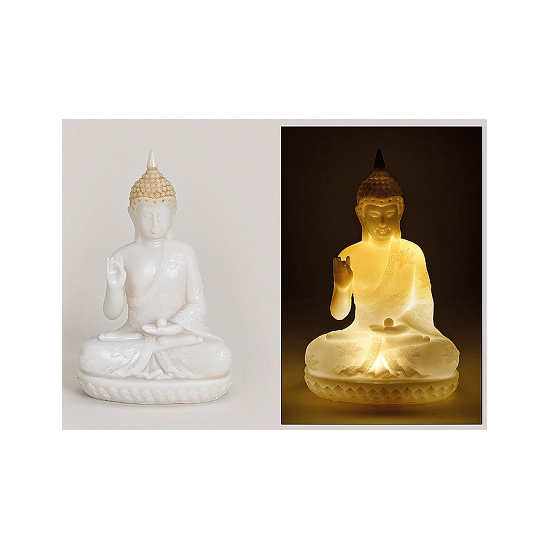boeddha beeld met led verlichting 23 cm