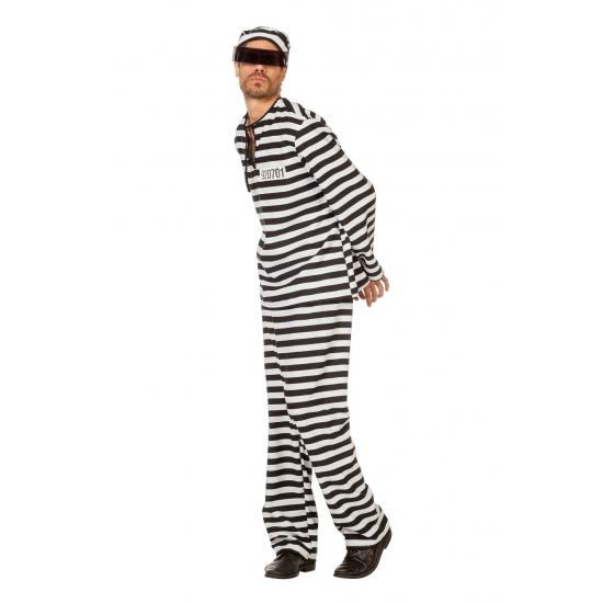 Zwart met wit gestreept boevenpak. compleet boevenpak in bestaande uit een broek, shirt en bijpassend mutsje. ...