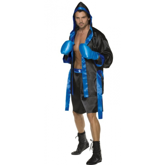 Bokser kostuum heren in de kleur blauw. dit bokser kostuum bestaat uit de badjas met riem, boks handschoenen ...