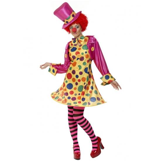 Vrolijk gekleurd clowns kostuum voor dames. dit dames clowns kostuum is inclusief: geel jurkje met hoepel in ...