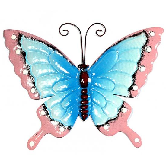 Decoratie vlinder blauw/roze 30 cm