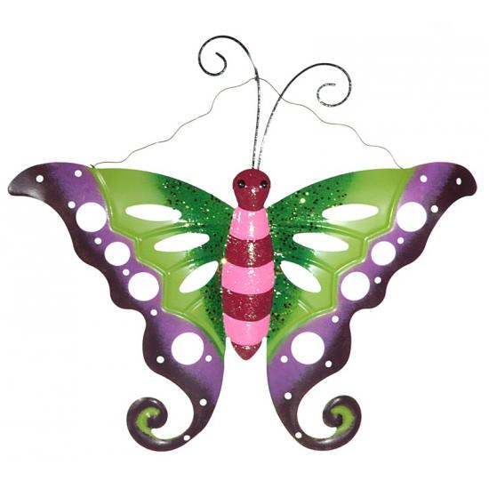 Decoratie vlinder paars/groen 41 cm