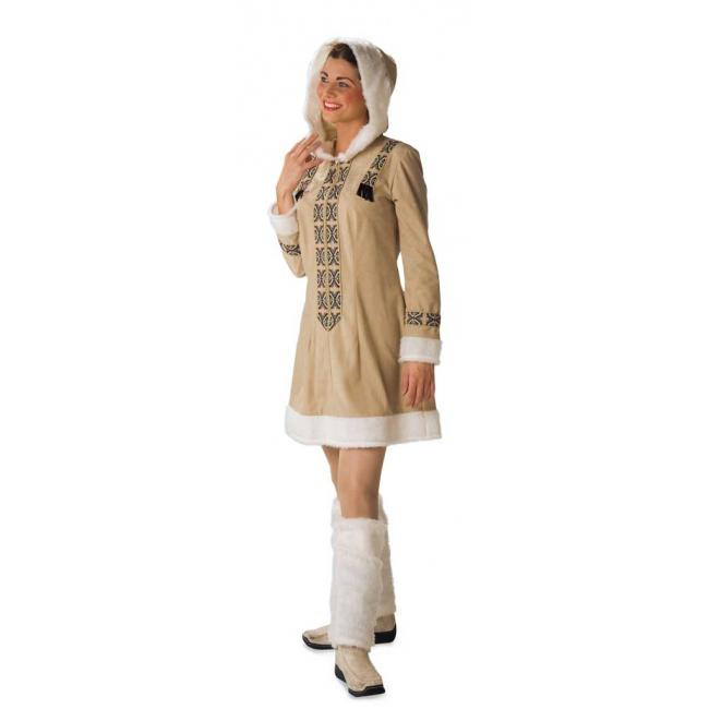 Eskimo kostuum voor dames. lang eskimo verkleed vest met capuchon en ritssluiting. het eskimo kostuum is ...
