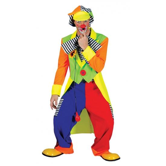 Fel gekleurd clowns kostuum voor volwassenen. dit clowns kostuum is compleet met jasje, broek en een petje. ...