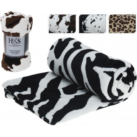 Fleece deken met koe print bruin/zwart/wit