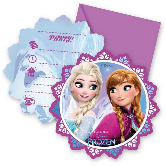 Frozen uitnodigingen. deze feestelijke uitnodigingen met plaatjes van frozen worden geleverd met envelop en ...