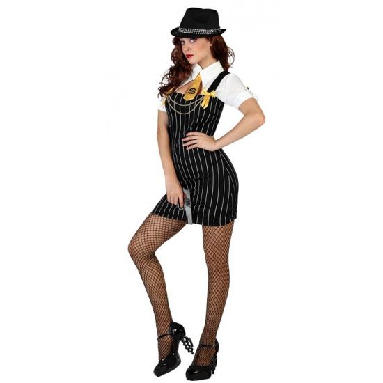 Gangster dames kostuum. sexy gangster jurkje met krijtstreep en bijpassende das.