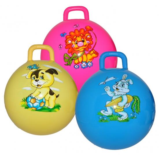 Gele skippybal met hond