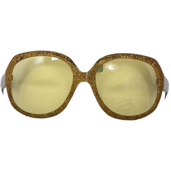 Grote gouden glitterbril