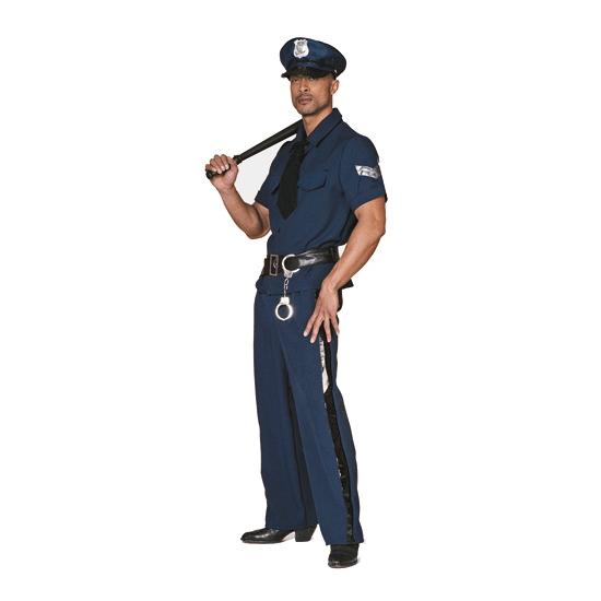 Grote maten politie kostuum. politiekostuum voor heren bestaande uit een blauwe broek met een zwarte streep ...