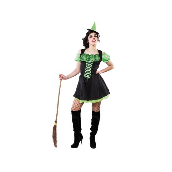 Halloween Groen heksenjurkje inclusief hoedje