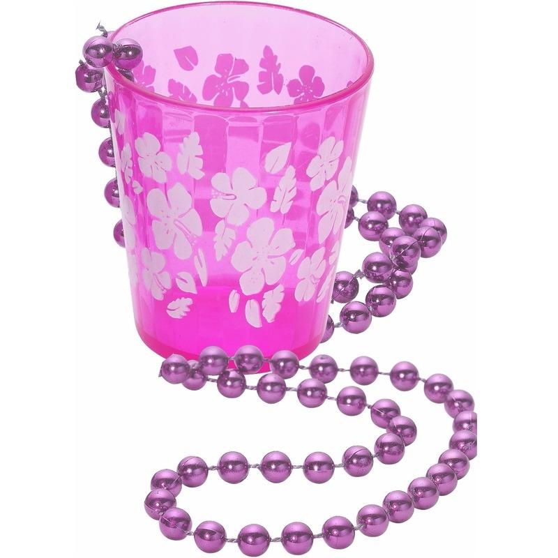 Hawaii ketting shotglas roze bloemen. een transparant roze shotglas aan een ketting hawaii thema. materiaal: ...