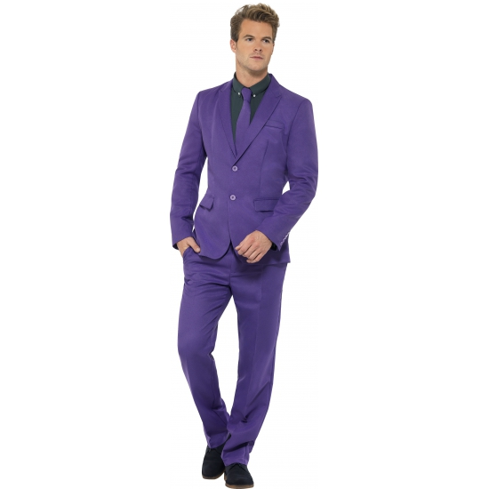 Heren kostuum paars. dit 3 delig heren kostuum met colbert, broek en stropdas is geheel in de kleur paars....