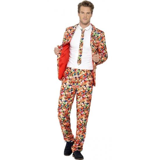 Heren kostuum snoepgoed. dit 3 delig heren kostuum met colbert, broek en stropdas heeft een all over print ...