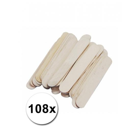 Hobby materiaal knutselhoutjes naturel 108 st
