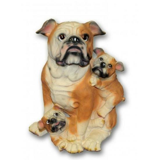Honden beeldje Bulldog met puppies 35 cm