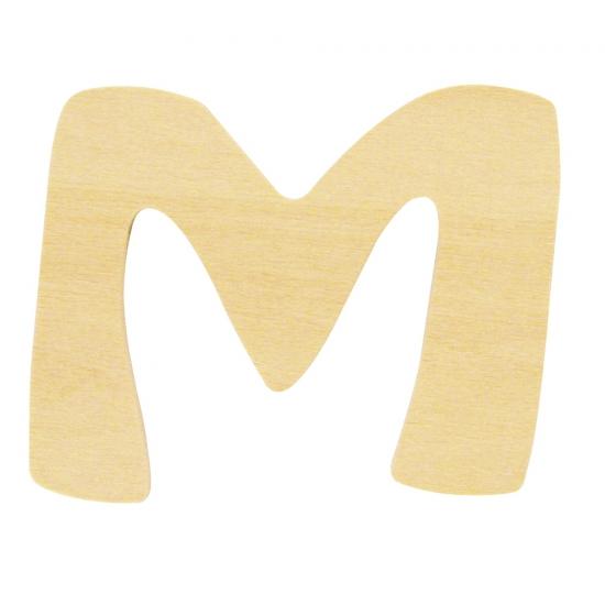 Houten letter M 6 cm