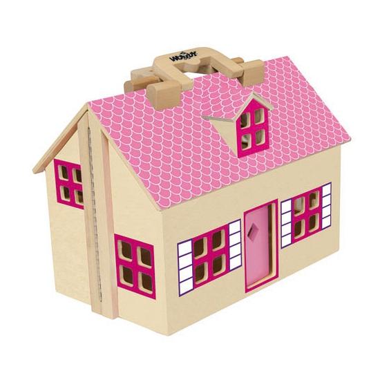 Houten poppenhuis roze uitklapbaar