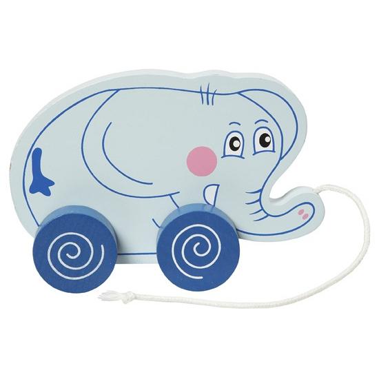 Houten trekdiertje olifant 13 cm