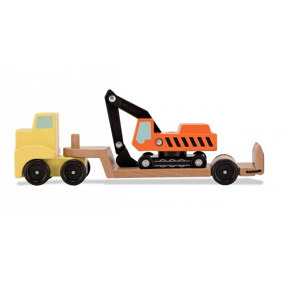 Houten truck met graafmachine