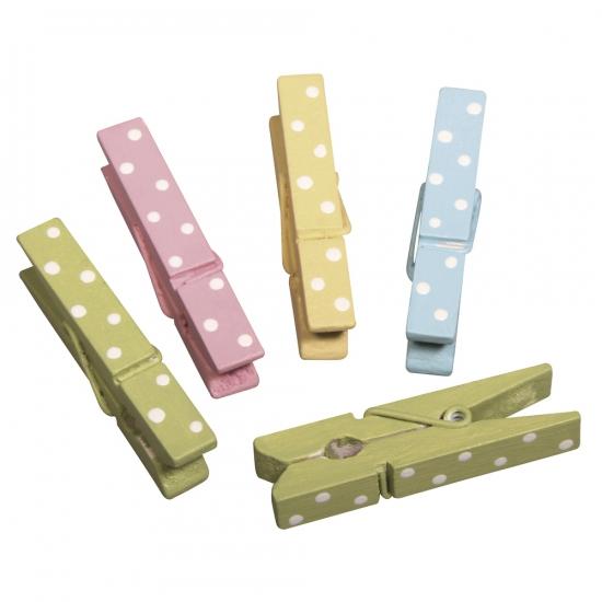 Houten wasknijpers gekleurd met stippen 12 stuks