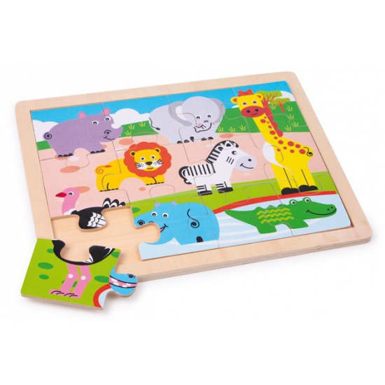 Houten wilde dieren puzzel