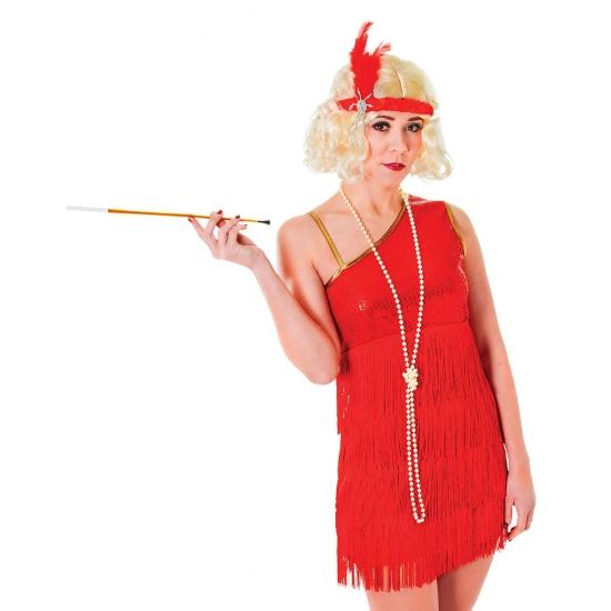 Jaren 20 glamour jurk rood