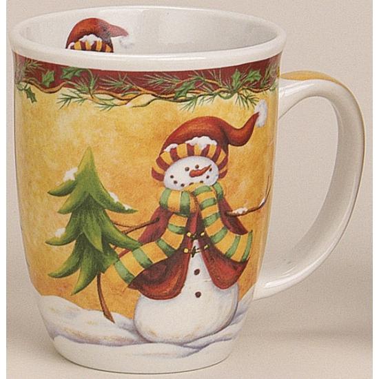 Kerstmok sneeuwpop met rode muts
