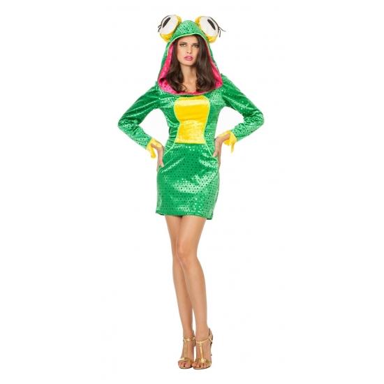 Kikker jurkje dieren kostuum voor dames. sexy kikker jurkje met lange mouwen en capuchon met grote kikkerogen....
