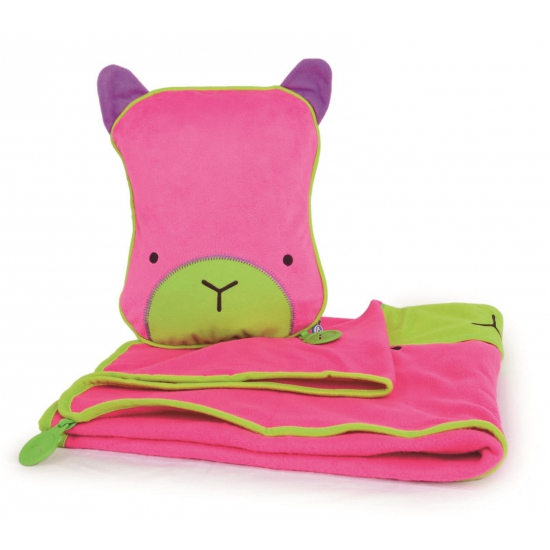 Kinder reisset deken en kussentje roze