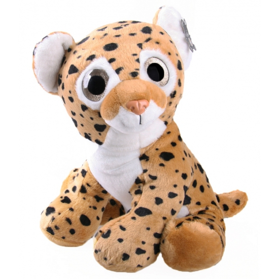 Knuffel panter bruin met glitter ogen 40 cm