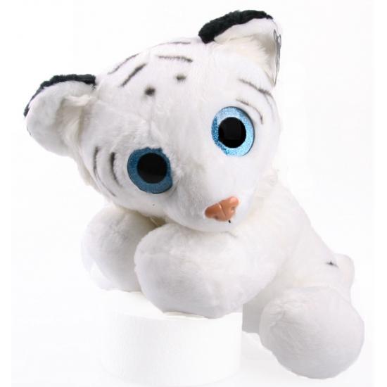 Knuffel tijger wit met glitter ogen 40 cm