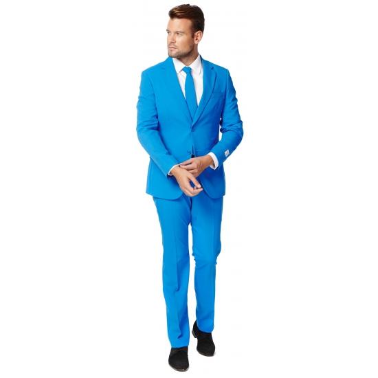 Luxe blauw heren kostuum. luxe pak voor heren in het fel blauw, met getailleerd colbert. het pak is gemaakt ...