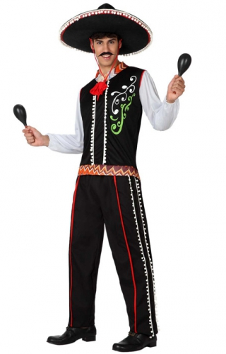 Mexicaans kostuum voor mannen. zwart mexico kostuum voor heren, exclusief accessoires.