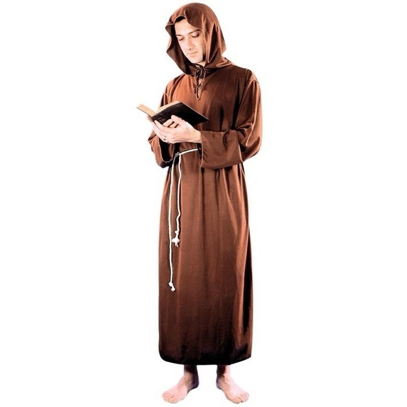 Voordelig monniken kostuum voor heren, bestaande uit een toga met kap en een koord als riem. materiaal: ...