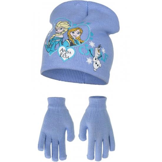 Muts en handschoenen Frozen lichtblauw