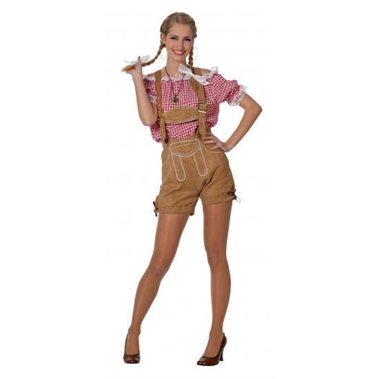 Oktoberfest Tiroler blouse voor dames rood/wit