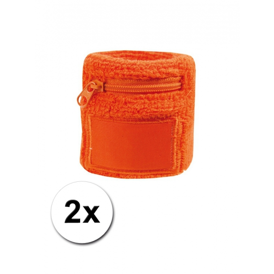 Oranje zweetband met ritsje 2 stuks