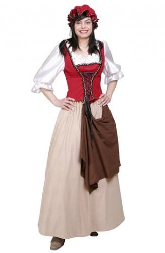 Ouderwets dienstmeisje kostuum. dames jurk in victoriaanse stijl inclusief rok, lijfje met mouwen en hoedje. ...