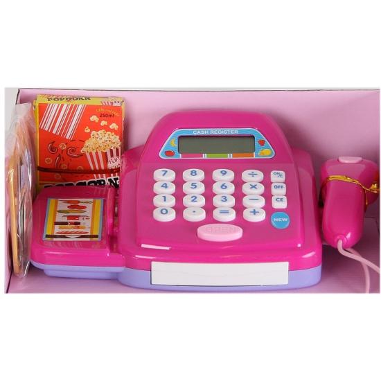 Paarse speelgoed kassa met digitaal display