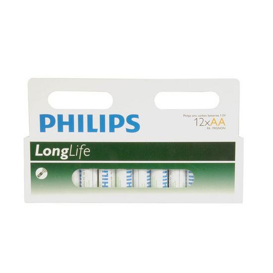 Pakket met 12 Philips AA batterijen