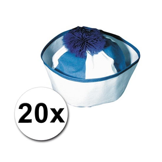 Pakket met 20 blauwe matrozen petjes icm zeeman tattoos