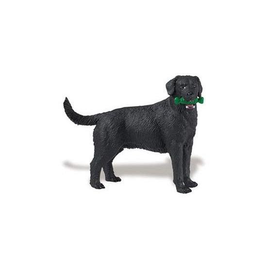 Plastic zwarte Labrador hond 9 cm