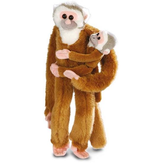 Pluche bruine hangende aap met baby