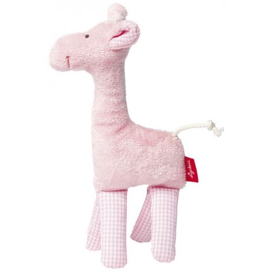 Pluche giraffe knuffel roze 19 cm